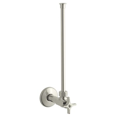 Angle Supply with Stop with Cross Handle and Annealed Vertical Tube Finish: Vibrant Polished Nickel