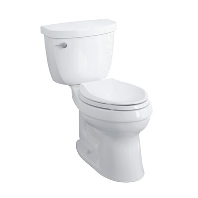Cimarron Comfort Height Two-Piece Elongated 1.28 GPF Toilet with Aquapiston Flush Technology, Left-Hand Trip Lever and Insuliner Tank Liner Finish: White