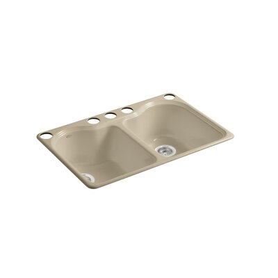 Hartland 33 x 22 x 9-5/8 Under-Mount Double-Equal Kitchen Sink with 5 Faucet Holes Finish: Mexican Sand