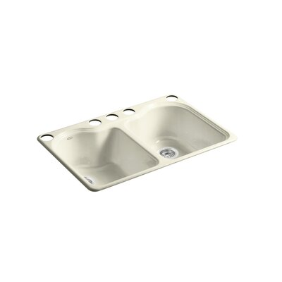 Hartland 33 x 22 x 9-5/8 Under-Mount Double-Equal Kitchen Sink with 5 Faucet Holes Finish: Cane Sugar