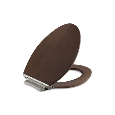 Avantis Quiet-Close with Grip-Tight Quiet-Close with Grip-Tight Elongated Toilet Seat with Quick-Release Vibrant Brushed Nickel Metal Hinges Wood Type: Light Antique Walnut