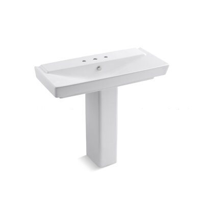 Reve 6 Pedestal Bathroom Sink with Overflow Finish: White, Faucet Mount: 8 Centers
