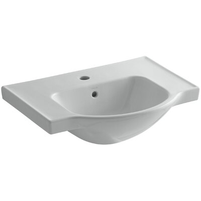 Veer Ceramic 24 Pedestal Bathroom Sink with Overflow Finish: Ice Grey, Faucet Hole Style: 8 Widespread