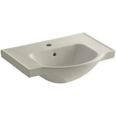 Veer Ceramic 24 Pedestal Bathroom Sink with Overflow Finish: Sandbar, Faucet Hole Style: 4 Centerset