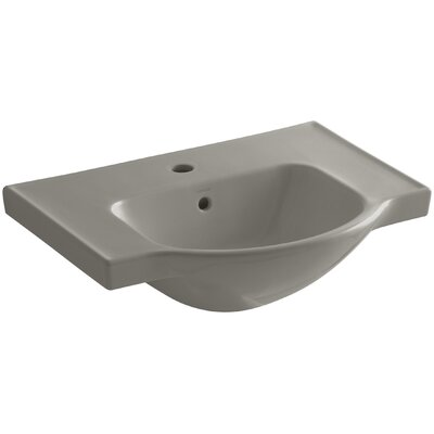 Veer Ceramic 24 Pedestal Bathroom Sink with Overflow Finish: Cashmere, Faucet Hole Style: Single