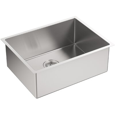 Strive 24 x 18-1/4 x 9-5/16 Under-Mount Single Bowl Kitchen Sink with Basin Rack
