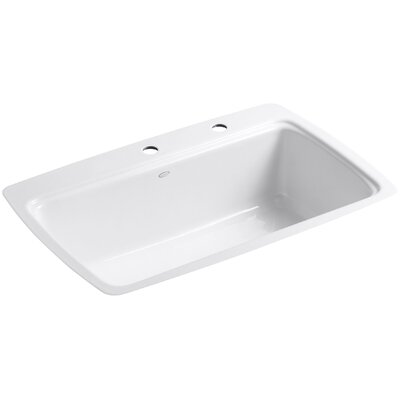 Cape Dory 33 x 22 x 9-5/8 Tile-In Single-Bowl Kitchen Sink Finish: White, Faucet Drillings: 4 Hole