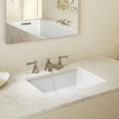 Verticyl Rectangular Undermount Bathroom Sink with Overflow Sink Finish: White