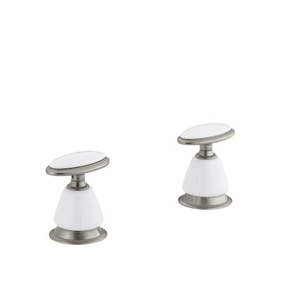 Antique Deck-Mount High-Flow Bath Valve Trim with Handles, Requires Ceramic Handle Skirts, Valve Not Included Finish: Vibrant Brushed Nickel