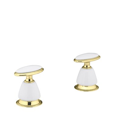 Antique Deck-Mount High-Flow Bath Valve Trim with Handles, Requires Ceramic Handle Skirts, Valve Not Included Finish: Vibrant Polished Brass