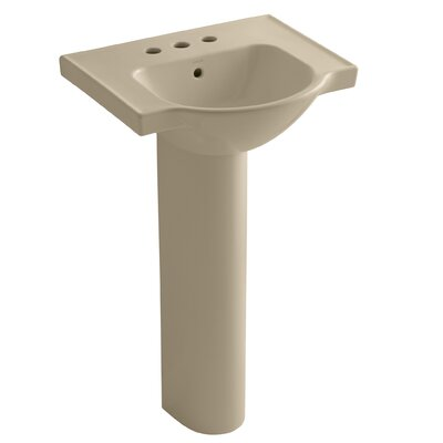 Veer Ceramic 24 Pedestal Bathroom Sink with Overflow Finish: Mexican Sand, Faucet Hole Style: Single
