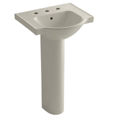 Veer 24 Pedestal Bathroom Sink with Overflow Finish: Sandbar, Faucet Hole Style: 8 Widespread