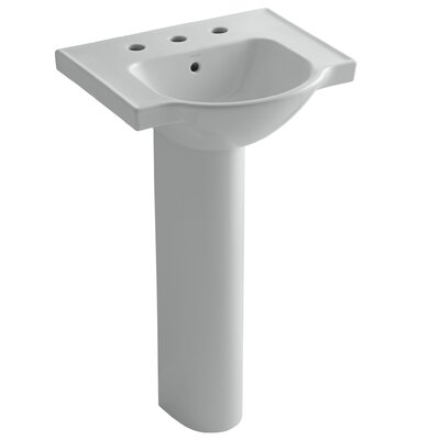 Veer Ceramic 24 Pedestal Bathroom Sink with Overflow Finish: Ice Grey, Faucet Hole Style: 4 Centerset