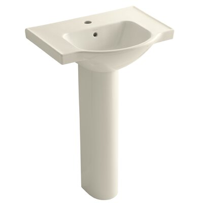 Veer 24 Pedestal Bathroom Sink with Overflow Finish: Almond, Faucet Hole Style: 4 Centerset