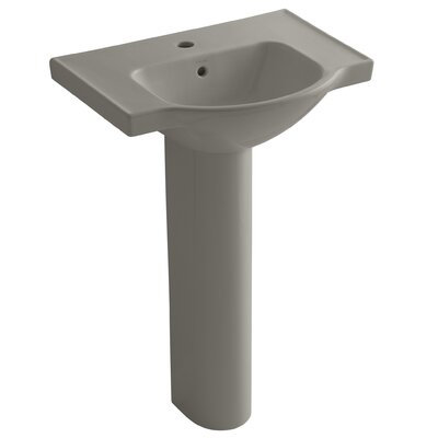 Veer 24 Pedestal Bathroom Sink with Overflow Finish: Cashmere, Faucet Hole Style: 4 Centerset
