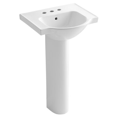 Veer 21 Pedestal Bathroom Sink with Overflow Finish: White, Faucet Hole Style: 4 Centerset