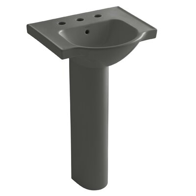 Veer Ceramic 21 Pedestal Bathroom Sink with Overflow Finish: Thunder Grey, Faucet Hole Style: 8 Widespread