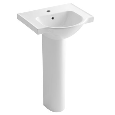 Veer Veer Ceramic 21 Pedestal Bathroom Sink with Overflow Finish: White