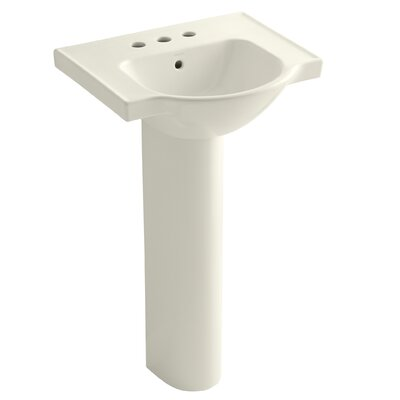 Veer 24 Pedestal Bathroom Sink with Overflow Finish: Biscuit, Faucet Hole Style: 4 Centerset