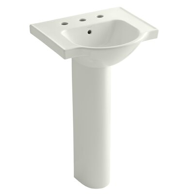 Veer 24 Pedestal Bathroom Sink with Overflow Finish: Dune, Faucet Hole Style: 4 Centerset