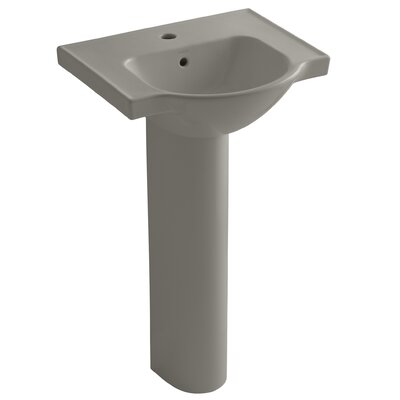 Veer Veer Ceramic 21 Pedestal Bathroom Sink with Overflow Finish: Cashmere