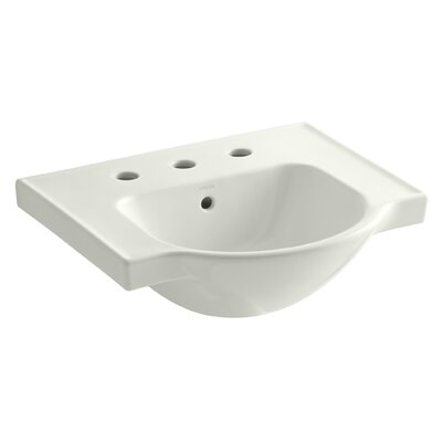 Veer Ceramic 21 Pedestal Bathroom Sink with Overflow Finish: Dune, Faucet Hole Style: 4 Centerset