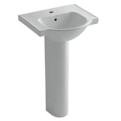 Veer Veer Ceramic 21 Pedestal Bathroom Sink with Overflow Finish: Ice Grey