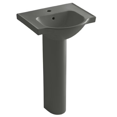 Veer Veer Ceramic 21 Pedestal Bathroom Sink with Overflow Finish: Thunder Grey