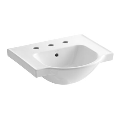 Veer Ceramic 21 Pedestal Bathroom Sink with Overflow Finish: White, Faucet Hole Style: 8 Widespread