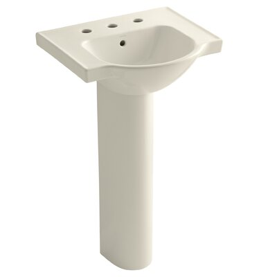Veer Ceramic 21 Pedestal Bathroom Sink with Overflow Finish: Almond, Faucet Hole Style: 8 Widespread