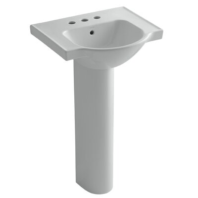 Veer Ceramic 21 Pedestal Bathroom Sink with Overflow Finish: Ice Grey, Faucet Hole Style: 4 Centerset