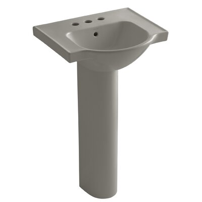 Veer Ceramic 21 Pedestal Bathroom Sink with Overflow Finish: Cashmere, Faucet Hole Style: 4 Centerset