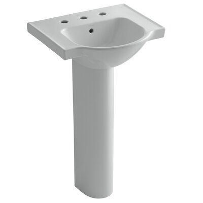 Veer Ceramic 21 Pedestal Bathroom Sink with Overflow Finish: Ice Grey, Faucet Hole Style: 8 Widespread