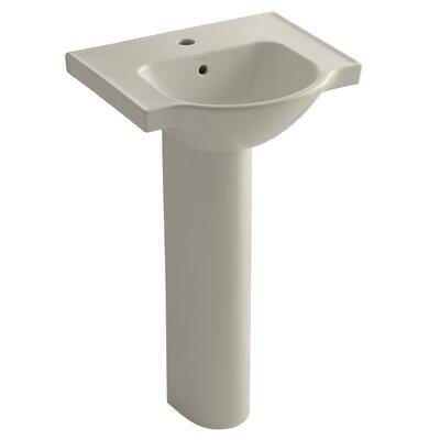 Veer Veer Ceramic 21 Pedestal Bathroom Sink with Overflow Finish: Sandbar