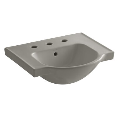 Veer Ceramic 21 Pedestal Bathroom Sink with Overflow Finish: Cashmere, Faucet Hole Style: 8 Widespread
