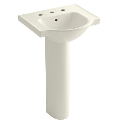 Veer 21 Pedestal Bathroom Sink with Overflow Finish: Biscuit, Faucet Hole Style: 8 Widespread