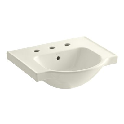 Veer Ceramic 21 Pedestal Bathroom Sink with Overflow Finish: Biscuit, Faucet Hole Style: 8 Widespread