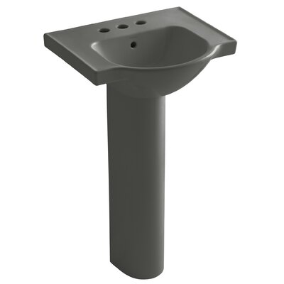 Veer 21 Pedestal Bathroom Sink with Overflow Finish: Thunder Grey, Faucet Hole Style: 4 Centerset