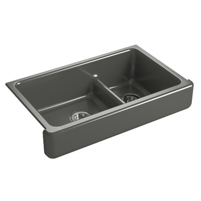 Whitehaven Self-Trimming Smart Divide 35-1/2 x 21-9/16 x 9-5/8 Under-Mount Large/Medium Double-Bowl Kitchen Sink with Short Apron Finish: Thunder Grey