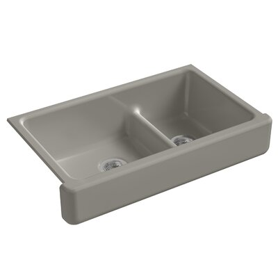 Whitehaven Self-Trimming Smart Divide 35-1/2 x 21-9/16 x 9-5/8 Under-Mount Large/Medium Double-Bowl Kitchen Sink with Short Apron Finish: Cashmere