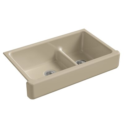 Whitehaven Self-Trimming Smart Divide 35-1/2 x 21-9/16 x 9-5/8 Under-Mount Large/Medium Double-Bowl Kitchen Sink with Short Apron Finish: Mexican Sand