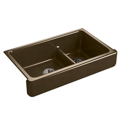 Whitehaven Self-Trimming Smart Divide 35-1/2 x 21-9/16 x 9-5/8 Under-Mount Large/Medium Double-Bowl Kitchen Sink with Short Apron Finish: Black n Tan