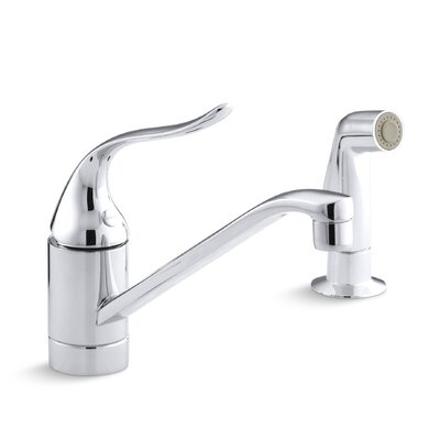 Coralais Two-Hole Kitchen Sink Faucet with 8-1/2 Spout, Matching Finish Side-Spray and Lever Handle Finish: Polished Chrome