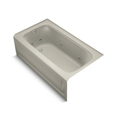 Bancroft Alcove Whirlpool Bath with Tile Flange, Left-Hand Drain and Bask Heated Surface Finish: Sandbar