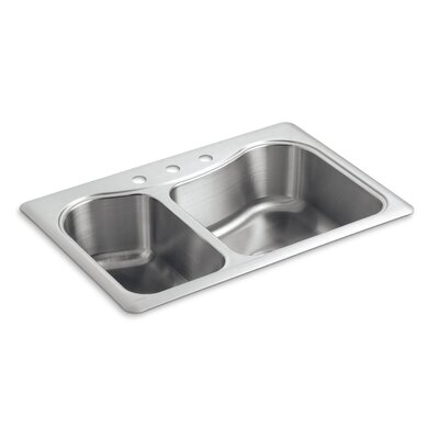 Staccato 33 x 22 x 8-5/16 Top-Mount Large/Medium Double-Bowl Kitchen Sink with 3 Faucet Holes