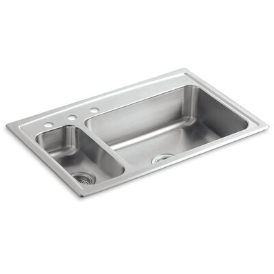 Toccata 33 x 22 x 7-11/16 Top-Mount High/Low Double-Bowl Kitchen Sink with Disposal Bowl and 3 Faucet Holes On The Left