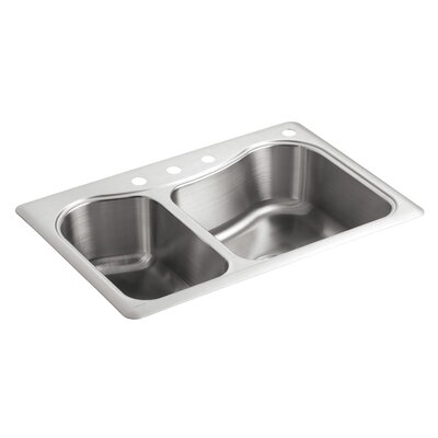 Staccato 33 x 22 x 8-5/16 Top-Mount Large/Medium Double-Bowl Kitchen Sink with 4 Faucet Holes