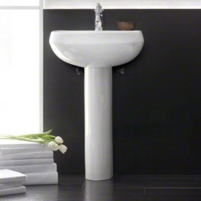 Wellworth 22 Pedestal Bathroom Sink with Overflow Finish: White
