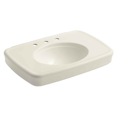 Bancroft� Ceramic 31 Pedestal Bathroom Sink with Overflow Sink Finish: Biscuit, Faucet Mount: Single