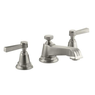 Pinstripe Widespread Double Handle Bathroom Faucet with Drain Assembly Finish: Vibrant Brushed Nickel